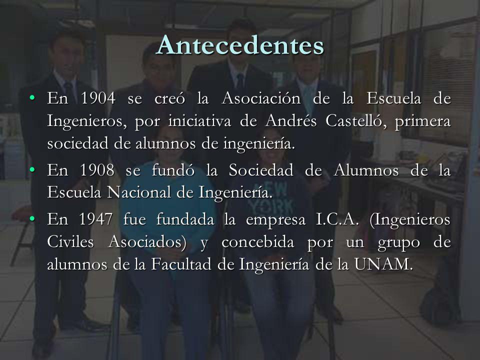 3 Antecedentes En 1904 se creó la Asociación de la Escuela de Ingenieros, por iniciativa de Andrés Castelló, primera sociedad de alumnos de ingeniería