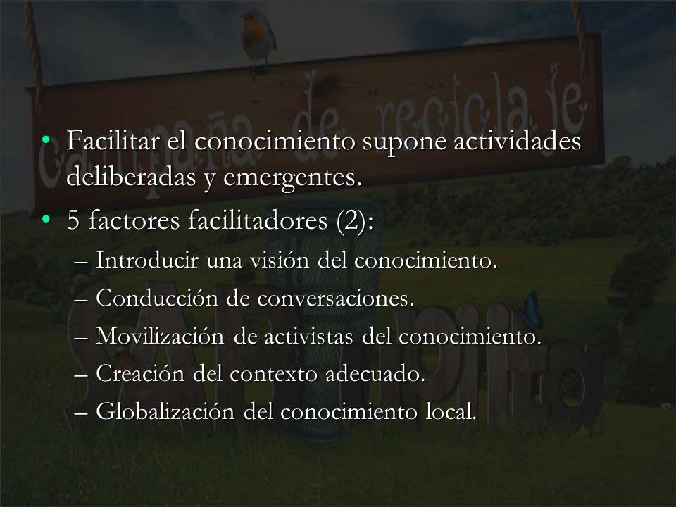 8 Facilitar el conocimiento supone actividades deliberadas y emergentes.Facilitar el conocimiento supone actividades deliberadas y emergentes. 5 facto