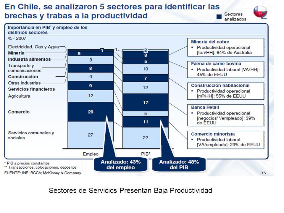 Sectores de Servicios Presentan Baja Productividad