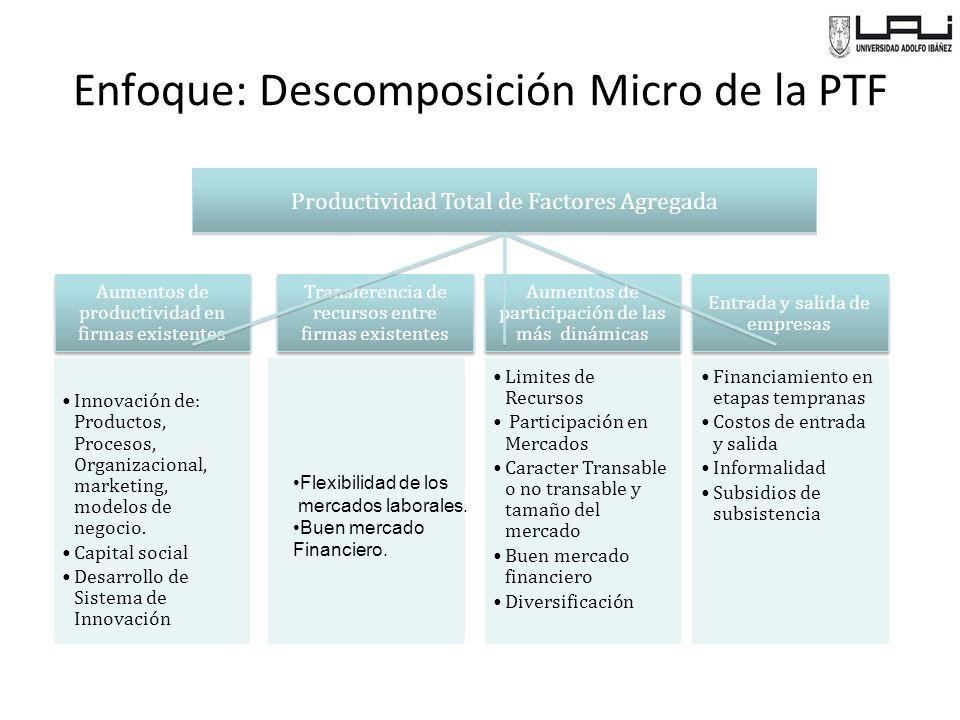 Enfoque: Descomposición Micro de la PTF Aumentos de productividad en firmas existentes Innovación de: Productos, Procesos, Organizacional, marketing, modelos de negocio.