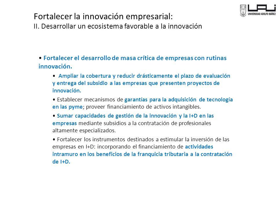 Fortalecer la innovación empresarial: II.