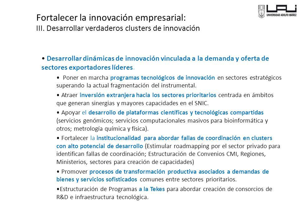 Fortalecer la innovación empresarial: III.