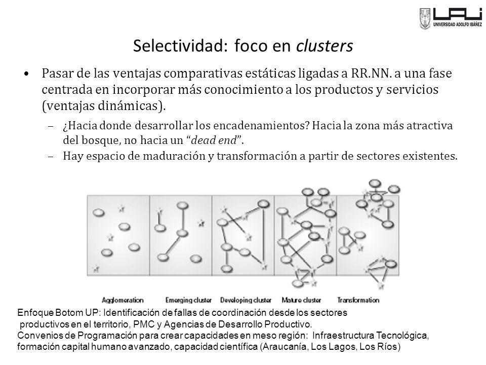 Selectividad: foco en clusters Pasar de las ventajas comparativas estáticas ligadas a RR.NN.