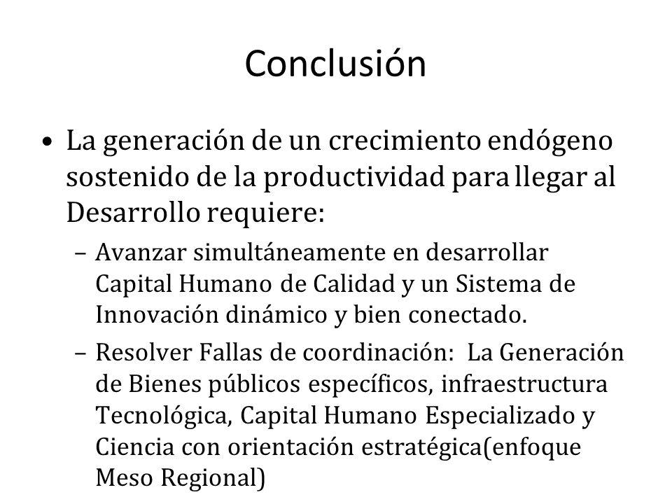 Conclusión La generación de un crecimiento endógeno sostenido de la productividad para llegar al Desarrollo requiere: –Avanzar simultáneamente en desarrollar Capital Humano de Calidad y un Sistema de Innovación dinámico y bien conectado.