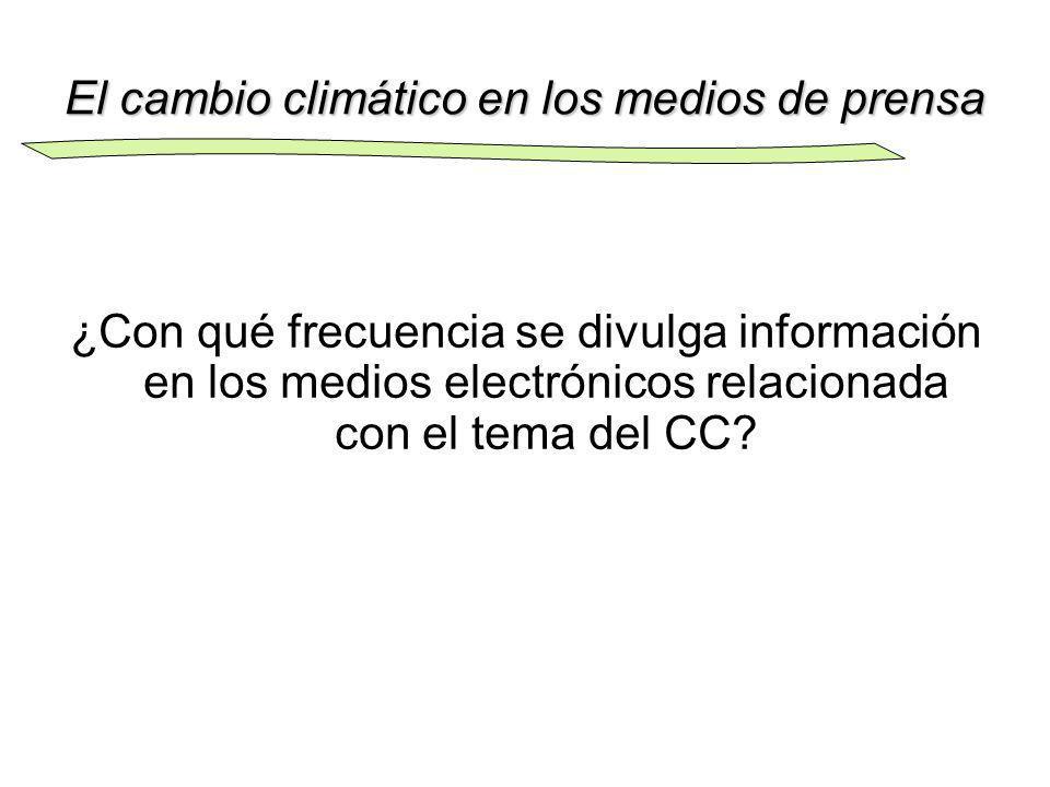 El cambio climático en los medios de prensa ¿Con qué frecuencia se divulga información en los medios electrónicos relacionada con el tema del CC?