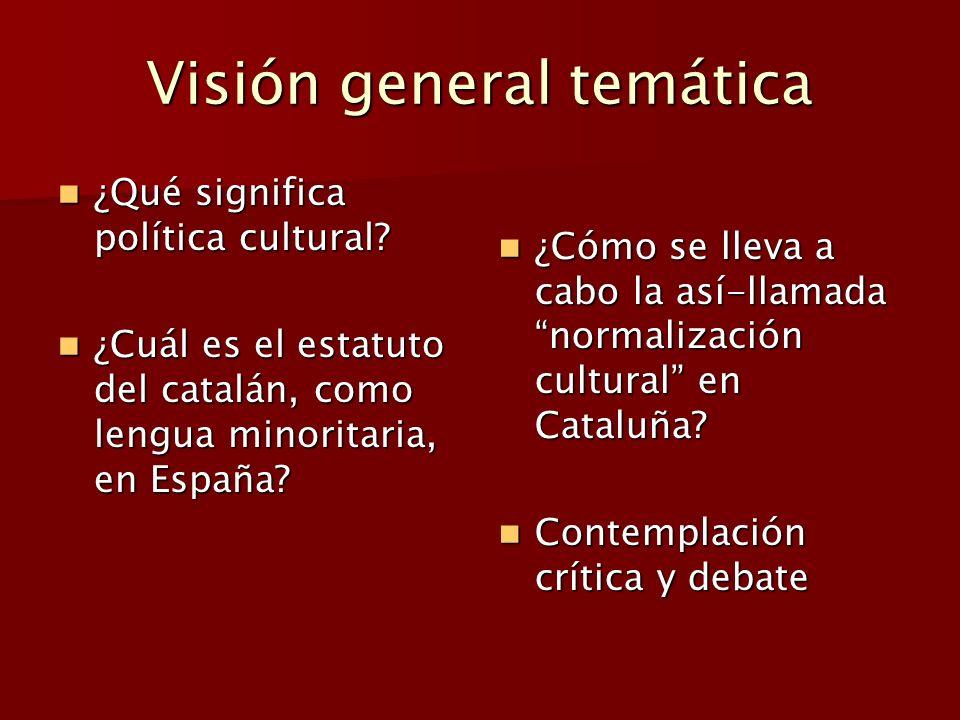 Visión general temática ¿Qué significa política cultural? ¿Qué significa política cultural? ¿Cuál es el estatuto del catalán, como lengua minoritaria,