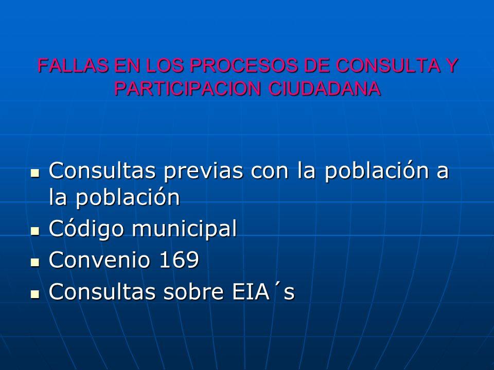 FALLAS EN LOS PROCESOS DE CONSULTA Y PARTICIPACION CIUDADANA Consultas previas con la población a la población Consultas previas con la población a la