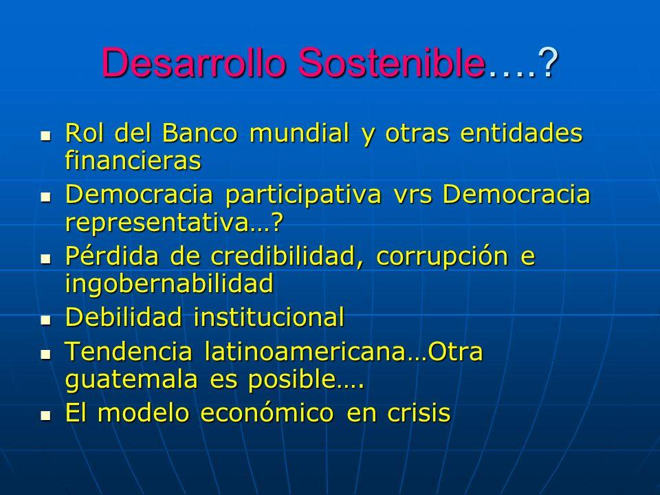 Desarrollo Sostenible….? Rol del Banco mundial y otras entidades financieras Rol del Banco mundial y otras entidades financieras Democracia participat