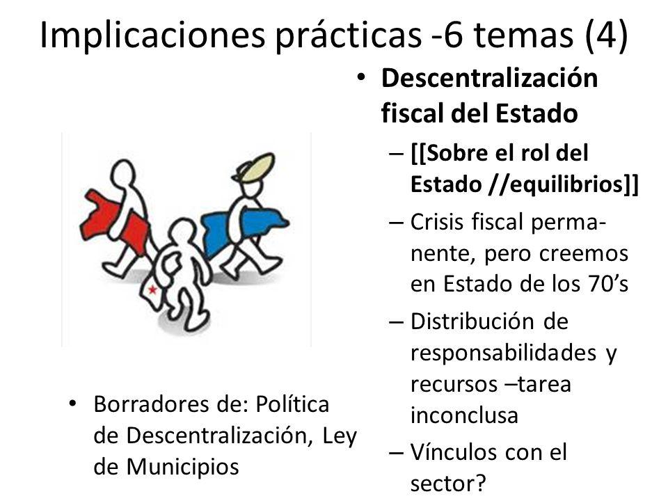 Implicaciones prácticas -6 temas (4) Descentralización fiscal del Estado – [[Sobre el rol del Estado //equilibrios]] – Crisis fiscal perma- nente, pero creemos en Estado de los 70s – Distribución de responsabilidades y recursos –tarea inconclusa – Vínculos con el sector.