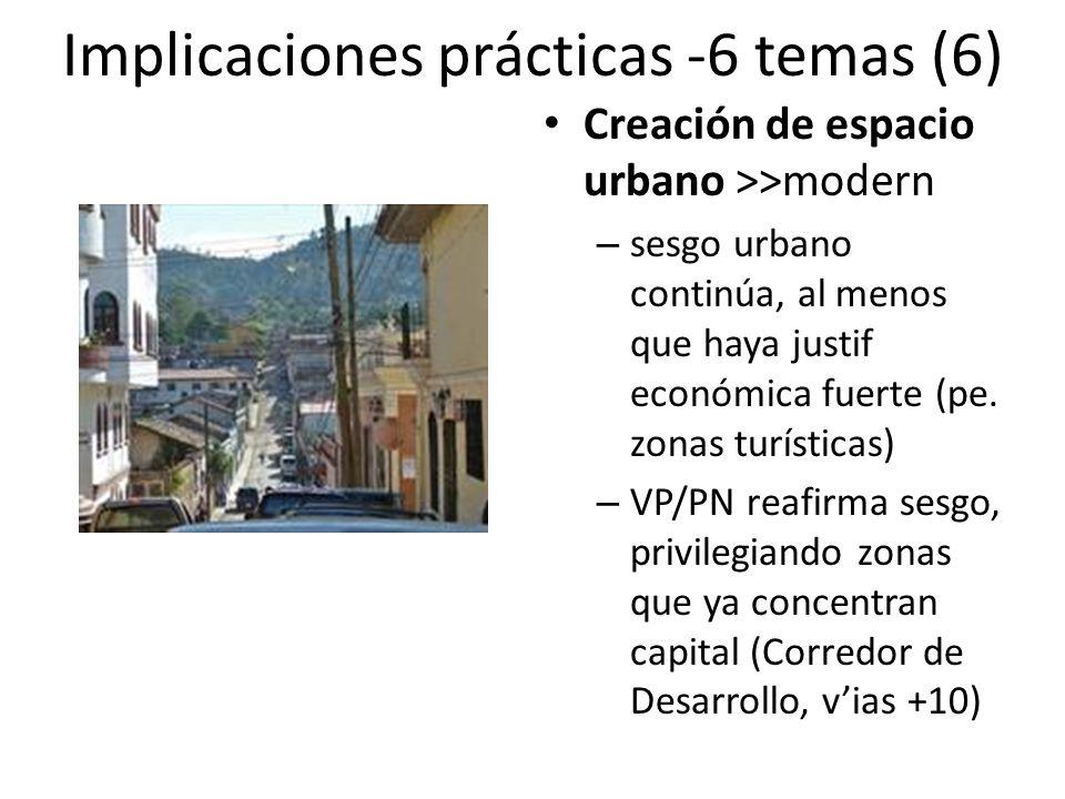 Implicaciones prácticas -6 temas (6) Creación de espacio urbano >>modern – sesgo urbano continúa, al menos que haya justif económica fuerte (pe.
