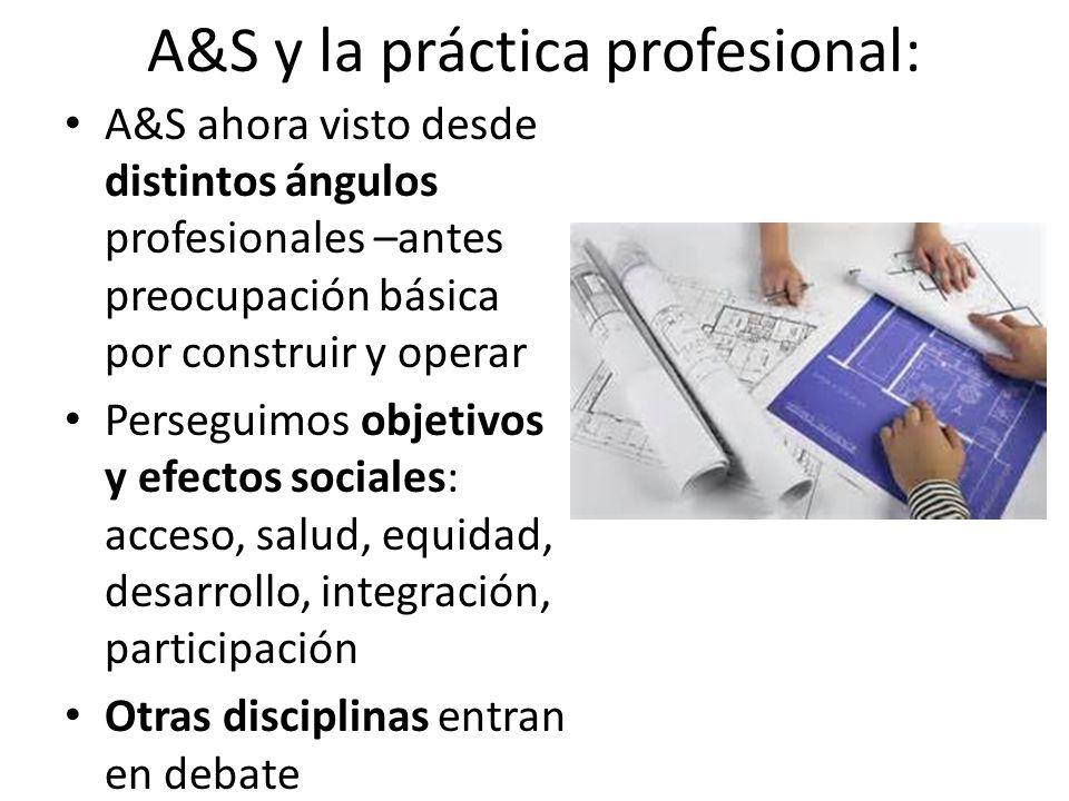 A&S y la práctica profesional: A&S ahora visto desde distintos ángulos profesionales –antes preocupación básica por construir y operar Perseguimos objetivos y efectos sociales: acceso, salud, equidad, desarrollo, integración, participación Otras disciplinas entran en debate