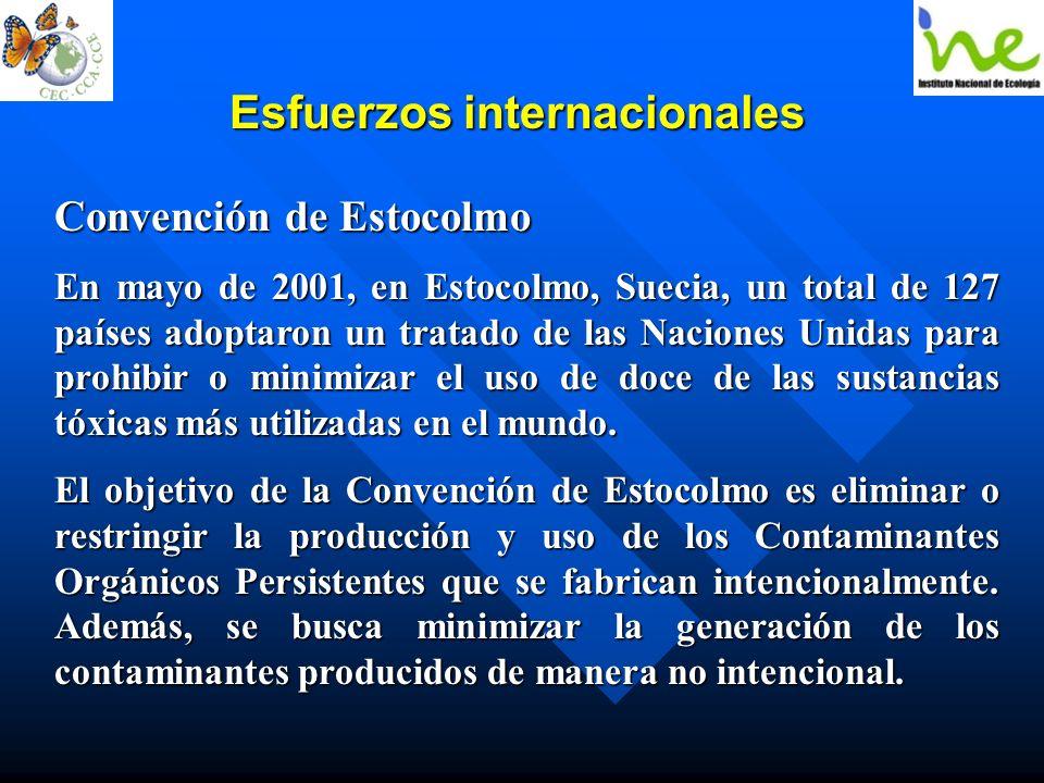 Esfuerzos internacionales Convención de Estocolmo En mayo de 2001, en Estocolmo, Suecia, un total de 127 países adoptaron un tratado de las Naciones U