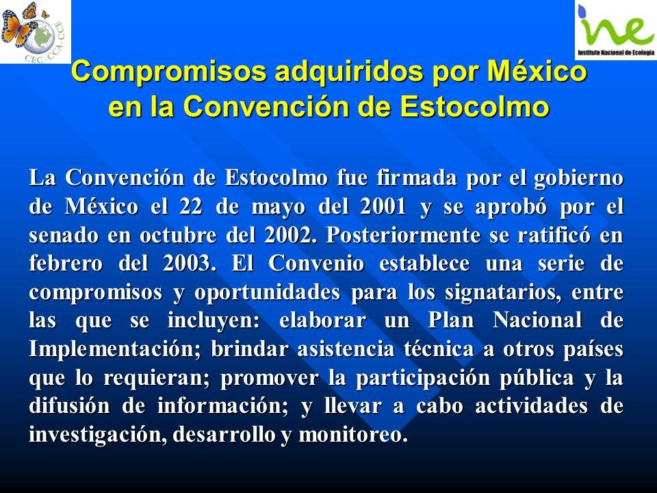 Compromisos adquiridos por México en la Convención de Estocolmo La Convención de Estocolmo fue firmada por el gobierno de México el 22 de mayo del 200