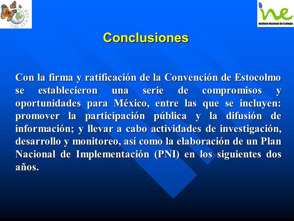 Conclusiones Con la firma y ratificación de la Convención de Estocolmo se establecieron una serie de compromisos y oportunidades para México, entre la