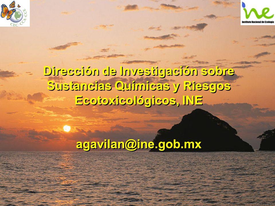 Dirección de Investigación sobre Sustancias Químicas y Riesgos Ecotoxicológicos, INE agavilan@ine.gob.mx Dirección de Investigación sobre Sustancias Q