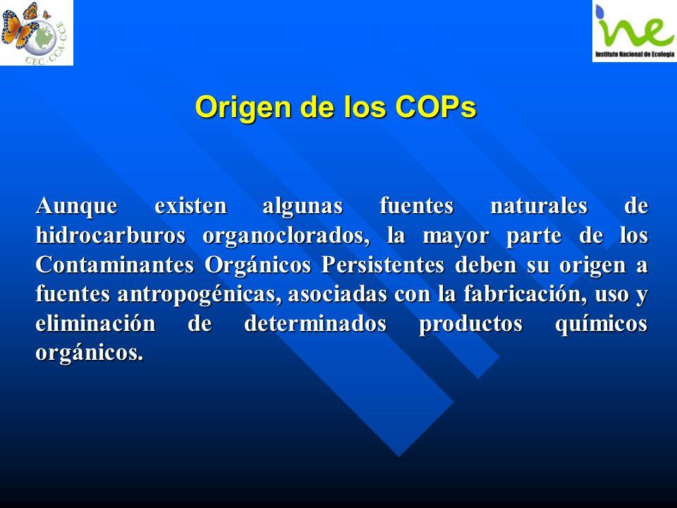 Origen de los COPs Aunque existen algunas fuentes naturales de hidrocarburos organoclorados, la mayor parte de los Contaminantes Orgánicos Persistente