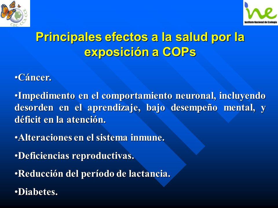 Principales efectos a la salud por la exposición a COPs Cáncer.Cáncer. Impedimento en el comportamiento neuronal, incluyendo desorden en el aprendizaj