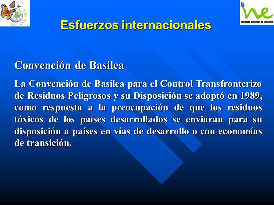 Esfuerzos internacionales Convención de Basilea La Convención de Basilea para el Control Transfronterizo de Residuos Peligrosos y su Disposición se ad