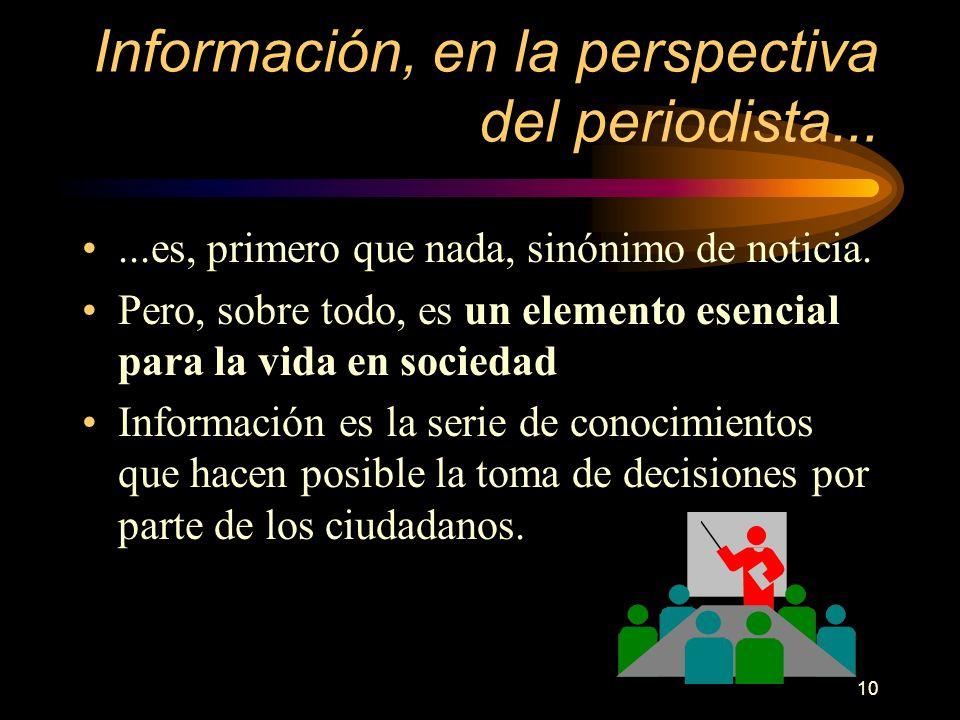 10 Información, en la perspectiva del periodista......es, primero que nada, sinónimo de noticia. Pero, sobre todo, es un elemento esencial para la vid