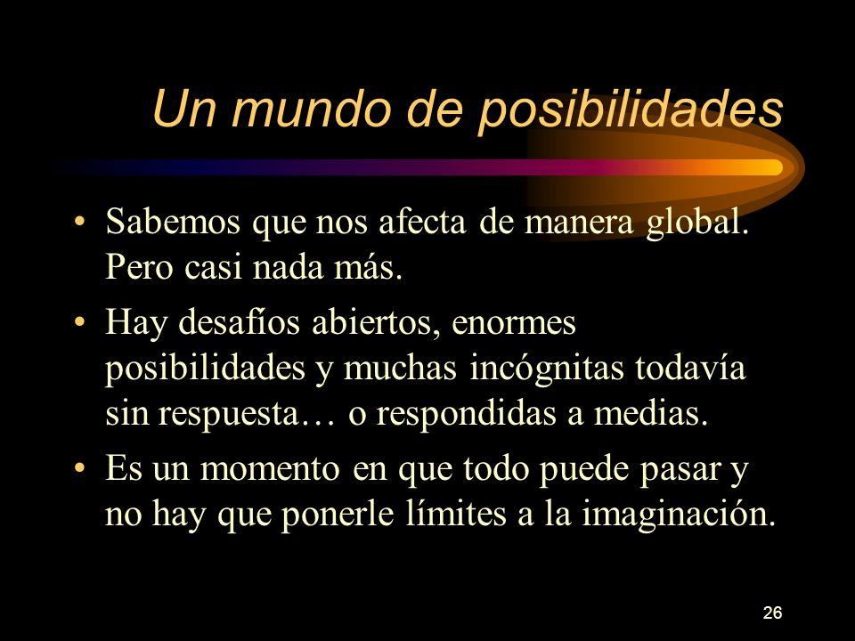 26 Un mundo de posibilidades Sabemos que nos afecta de manera global.