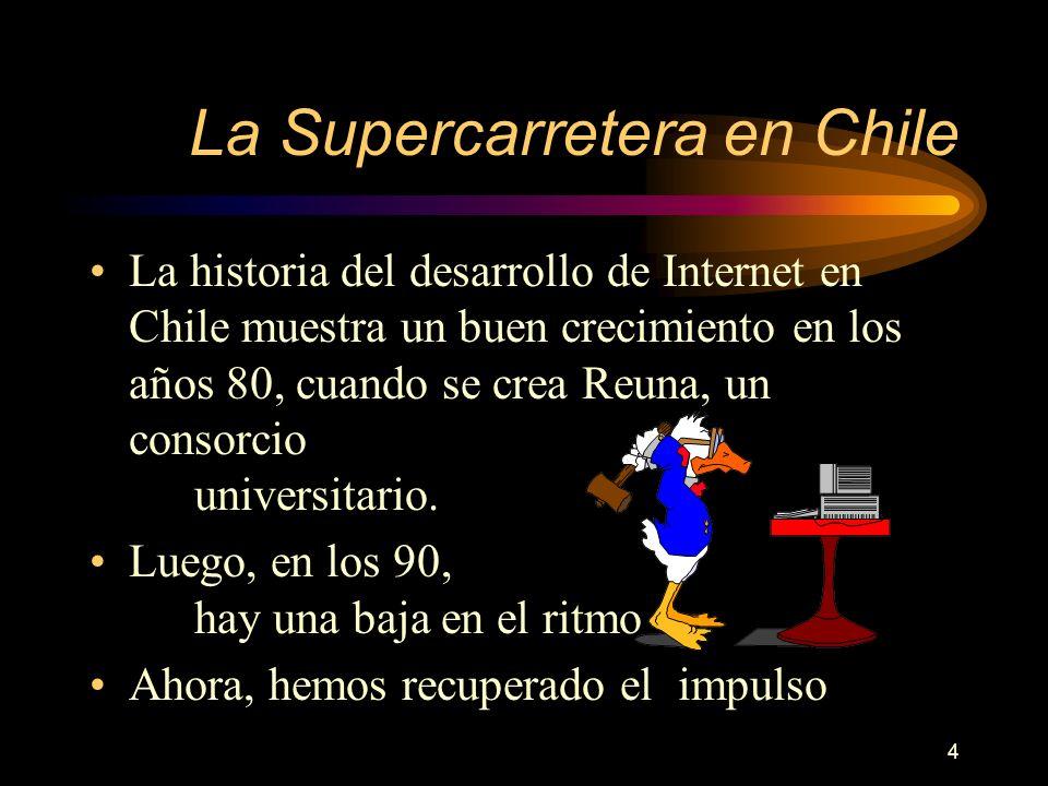 4 La Supercarretera en Chile La historia del desarrollo de Internet en Chile muestra un buen crecimiento en los años 80, cuando se crea Reuna, un consorcio universitario.