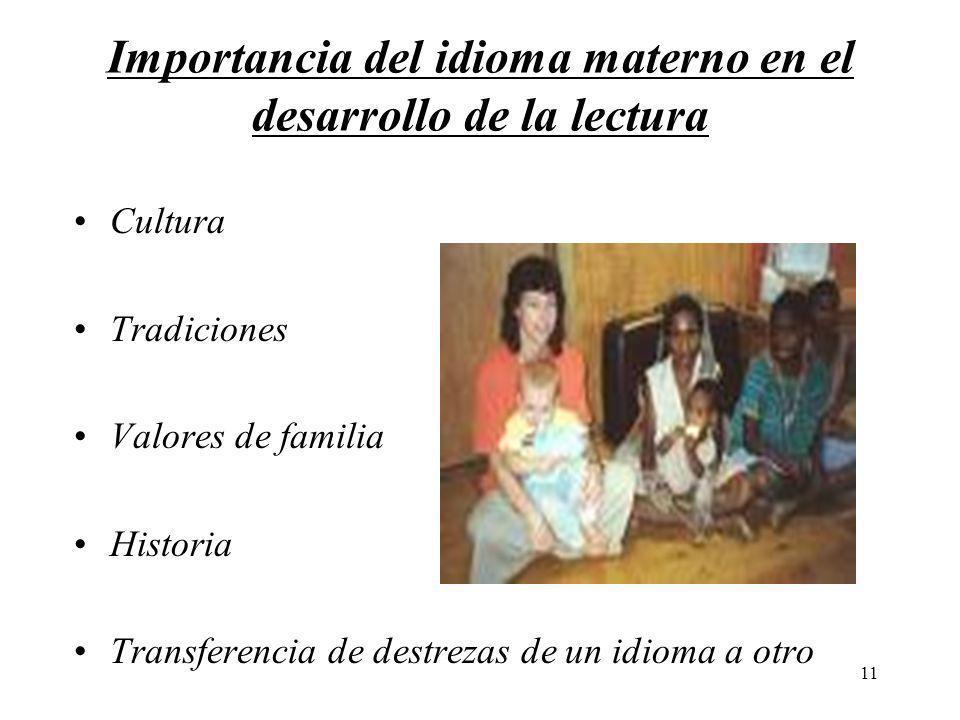 11 Importancia del idioma materno en el desarrollo de la lectura Cultura Tradiciones Valores de familia Historia Transferencia de destrezas de un idio