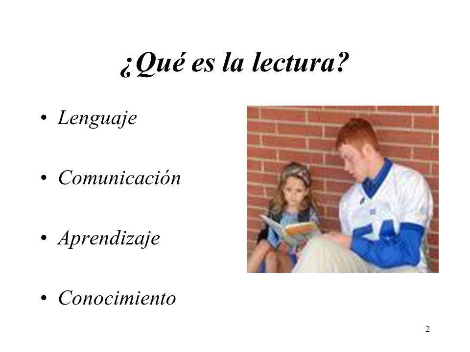 2 ¿Qué es la lectura? Lenguaje Comunicación Aprendizaje Conocimiento