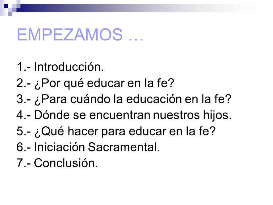 EMPEZAMOS … 1.- Introducción. 2.- ¿Por qué educar en la fe? 3.- ¿Para cuándo la educación en la fe? 4.- Dónde se encuentran nuestros hijos. 5.- ¿Qué h