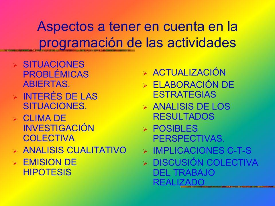 Aspectos a tener en cuenta en la programación de las actividades SITUACIONES PROBLÉMICAS ABIERTAS.