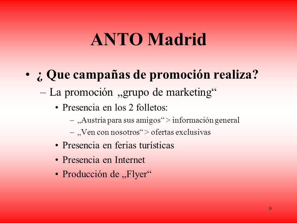 9 ANTO Madrid ¿ Que campañas de promoción realiza.