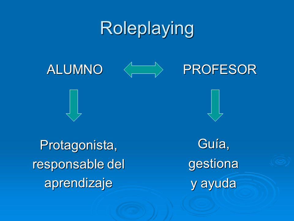 Roleplaying ALUMNO ALUMNOProtagonista, responsable del aprendizaje PROFESOR Guía,gestiona y ayuda