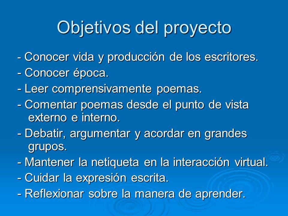Objetivos del proyecto - Conocer vida y producción de los escritores. - Conocer época. - Leer comprensivamente poemas. - Comentar poemas desde el punt