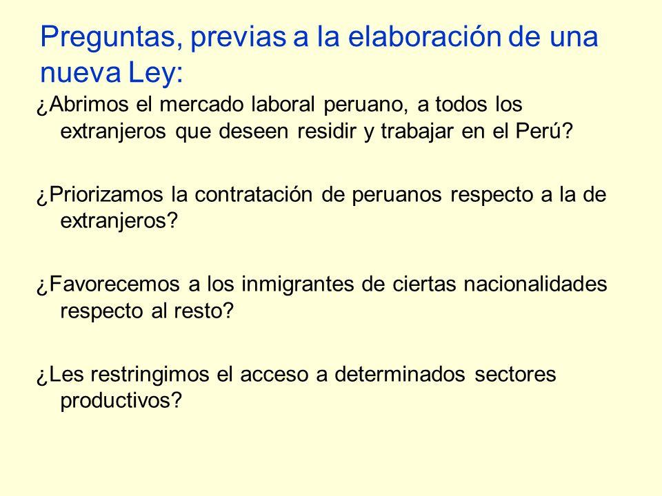Preguntas, previas a la elaboración de una nueva Ley: ¿Abrimos el mercado laboral peruano, a todos los extranjeros que deseen residir y trabajar en el