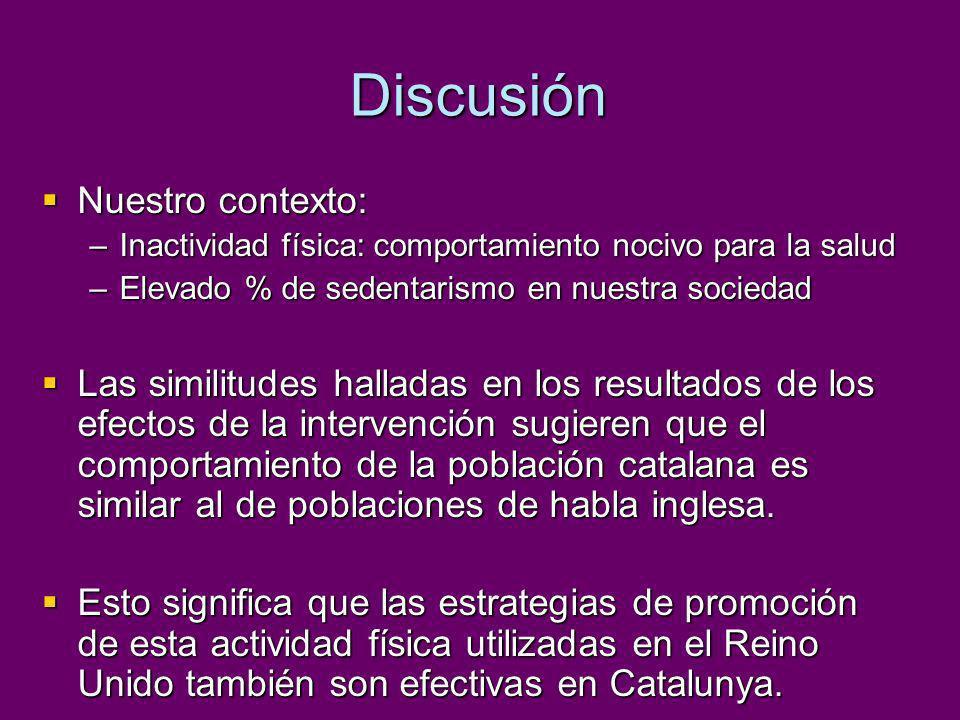 Discusión La respuesta obtenida en Catalunya es menor que la hallada en estudios realizados en el Reino Unido o Estados Unidos.
