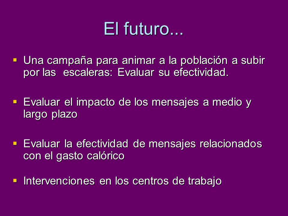 El futuro... Una campaña para animar a la población a subir por las escaleras: Evaluar su efectividad. Una campaña para animar a la población a subir