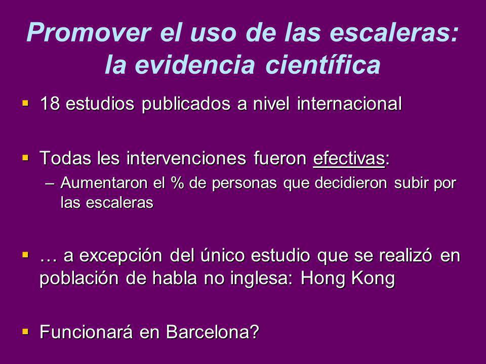 Promover el uso de las escaleras: la evidencia científica 18 estudios publicados a nivel internacional 18 estudios publicados a nivel internacional To