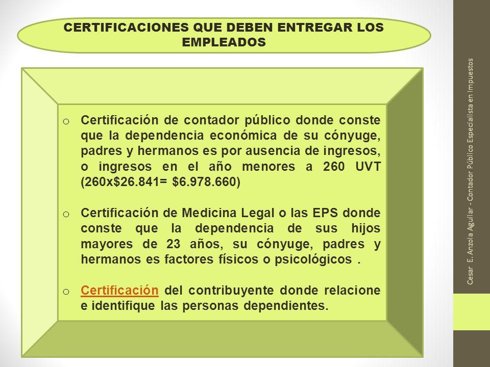 Cesar E. Anzola Aguilar - Contador Público Especialista en Impuestos o Certificación de contador público donde conste que la dependencia económica de