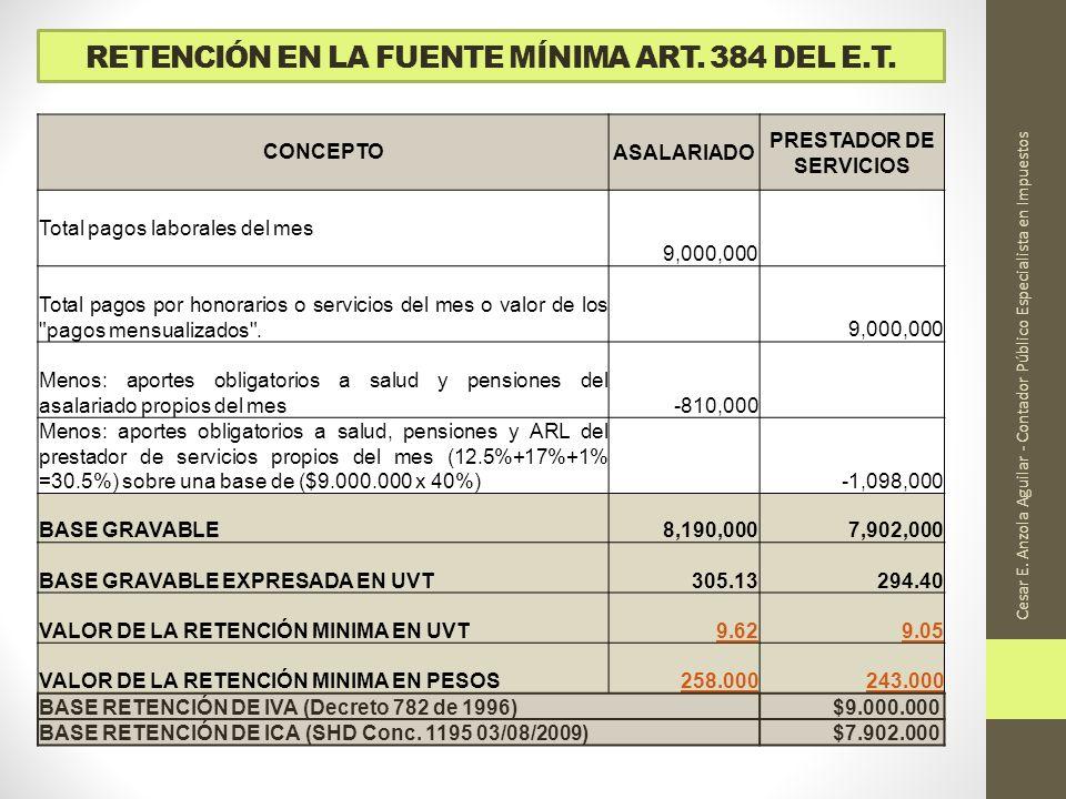 RETENCIÓN EN LA FUENTE MÍNIMA ART. 384 DEL E.T. Cesar E. Anzola Aguilar - Contador Público Especialista en Impuestos CONCEPTOASALARIADO PRESTADOR DE S