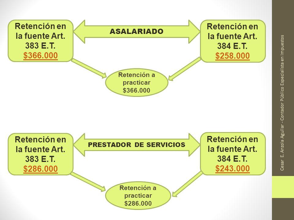 Cesar E. Anzola Aguilar - Contador Público Especialista en Impuestos Retención en la fuente Art. 383 E.T. $366.000 $366.000 Retención en la fuente Art