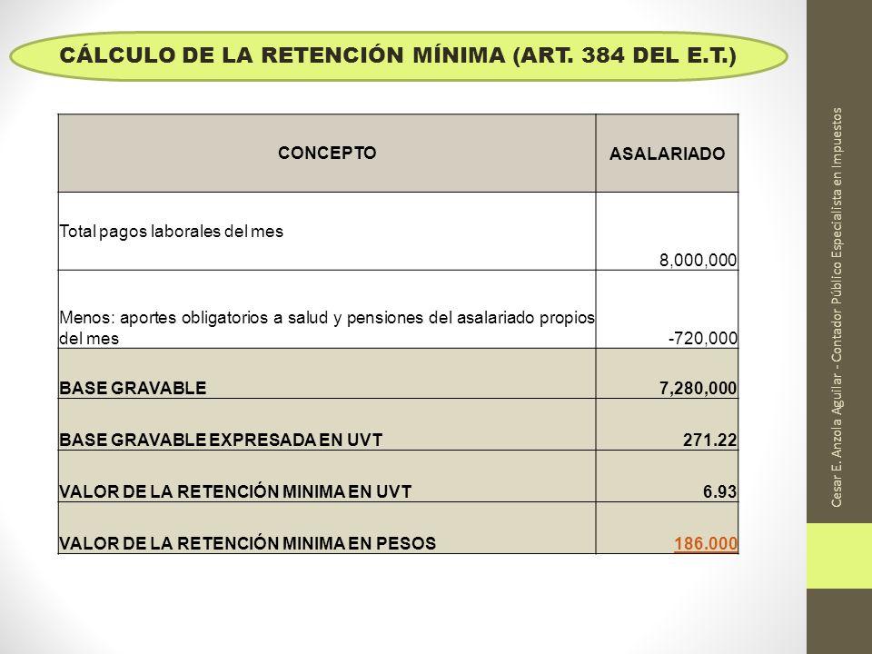 Cesar E. Anzola Aguilar - Contador Público Especialista en Impuestos CONCEPTOASALARIADO Total pagos laborales del mes 8,000,000 Menos: aportes obligat