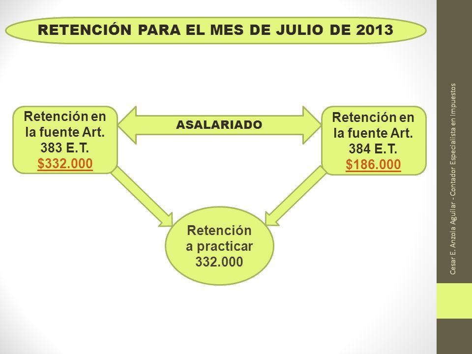 Cesar E. Anzola Aguilar - Contador Especialista en Impuestos Retención en la fuente Art. 383 E.T. $332.000 $332.000 Retención en la fuente Art. 384 E.