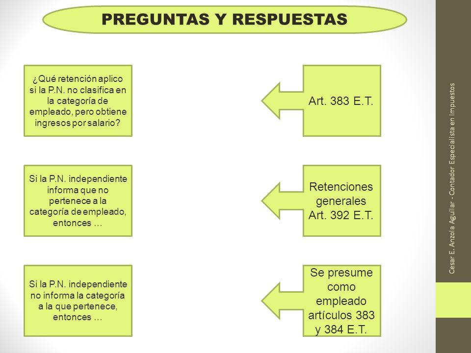 Cesar E. Anzola Aguilar - Contador Especialista en Impuestos PREGUNTAS Y RESPUESTAS ¿Qué retención aplico si la P.N. no clasifica en la categoría de e