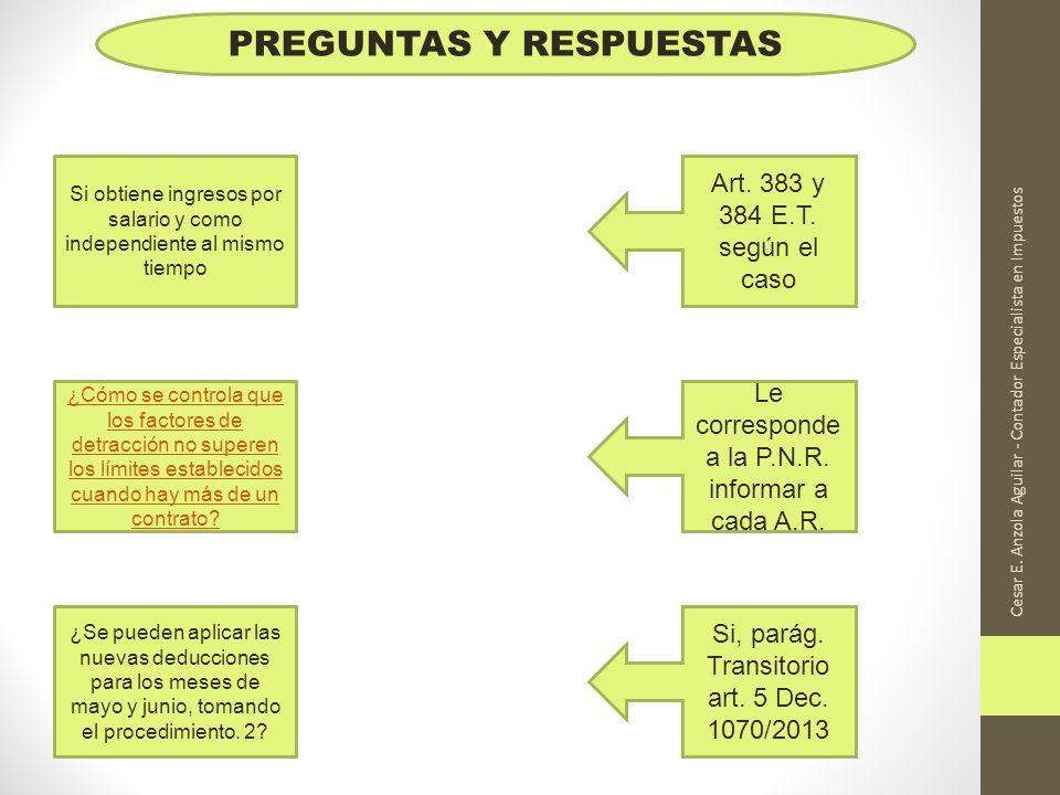 Cesar E. Anzola Aguilar - Contador Especialista en Impuestos PREGUNTAS Y RESPUESTAS Si obtiene ingresos por salario y como independiente al mismo tiem