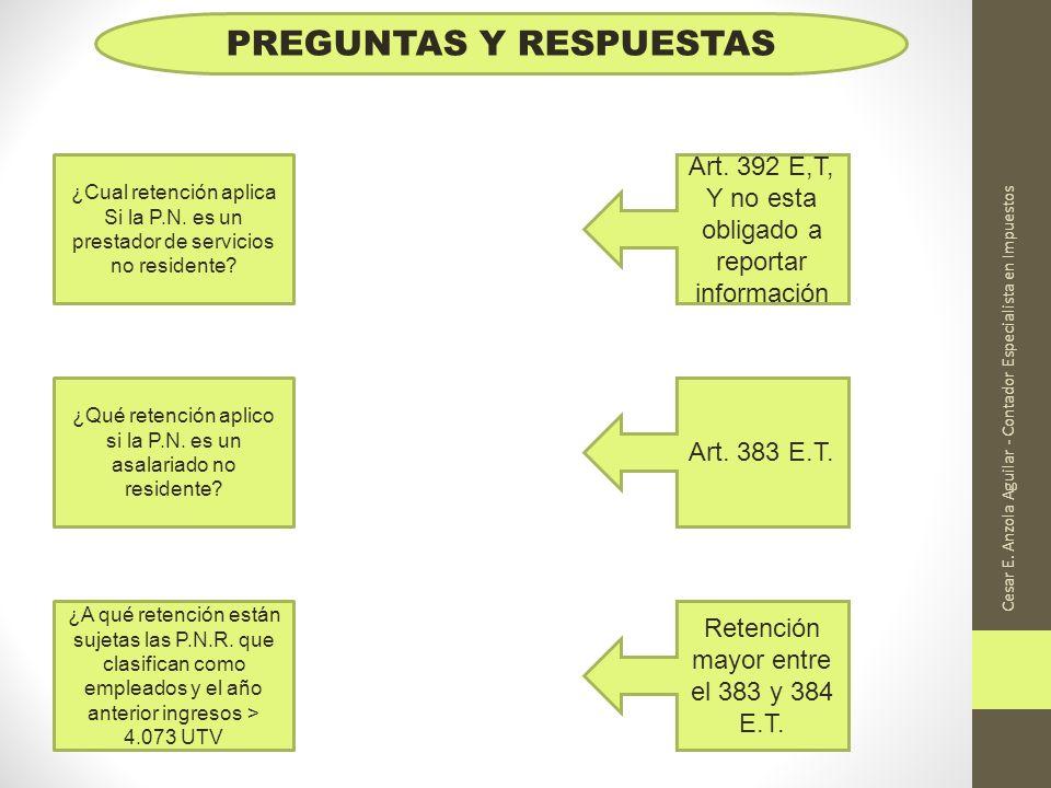 Cesar E. Anzola Aguilar - Contador Especialista en Impuestos PREGUNTAS Y RESPUESTAS ¿Cual retención aplica Si la P.N. es un prestador de servicios no