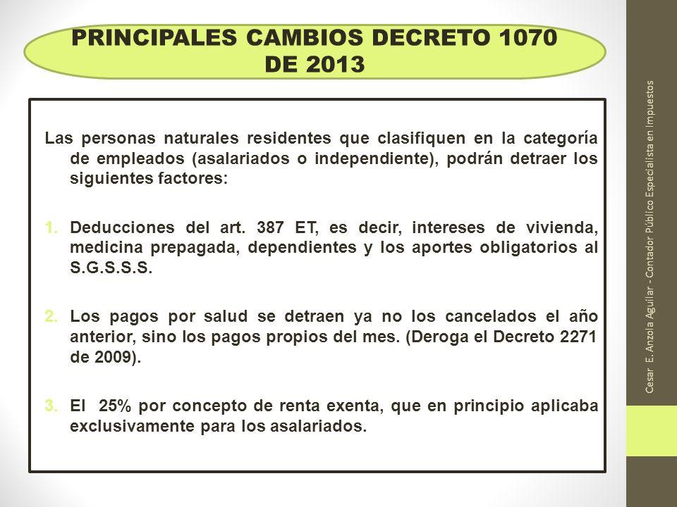 Cesar E. Anzola Aguilar - Contador Público Especialista en Impuestos Las personas naturales residentes que clasifiquen en la categoría de empleados (a