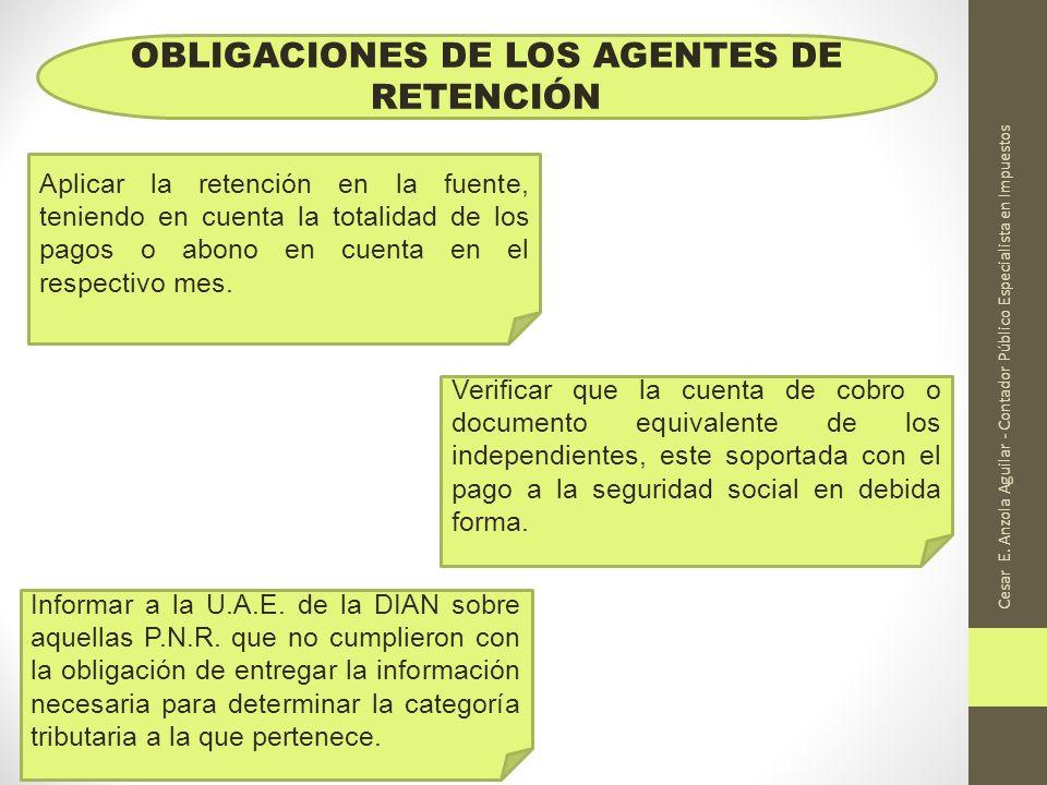 Cesar E. Anzola Aguilar - Contador Público Especialista en Impuestos OBLIGACIONES DE LOS AGENTES DE RETENCIÓN Aplicar la retención en la fuente, tenie