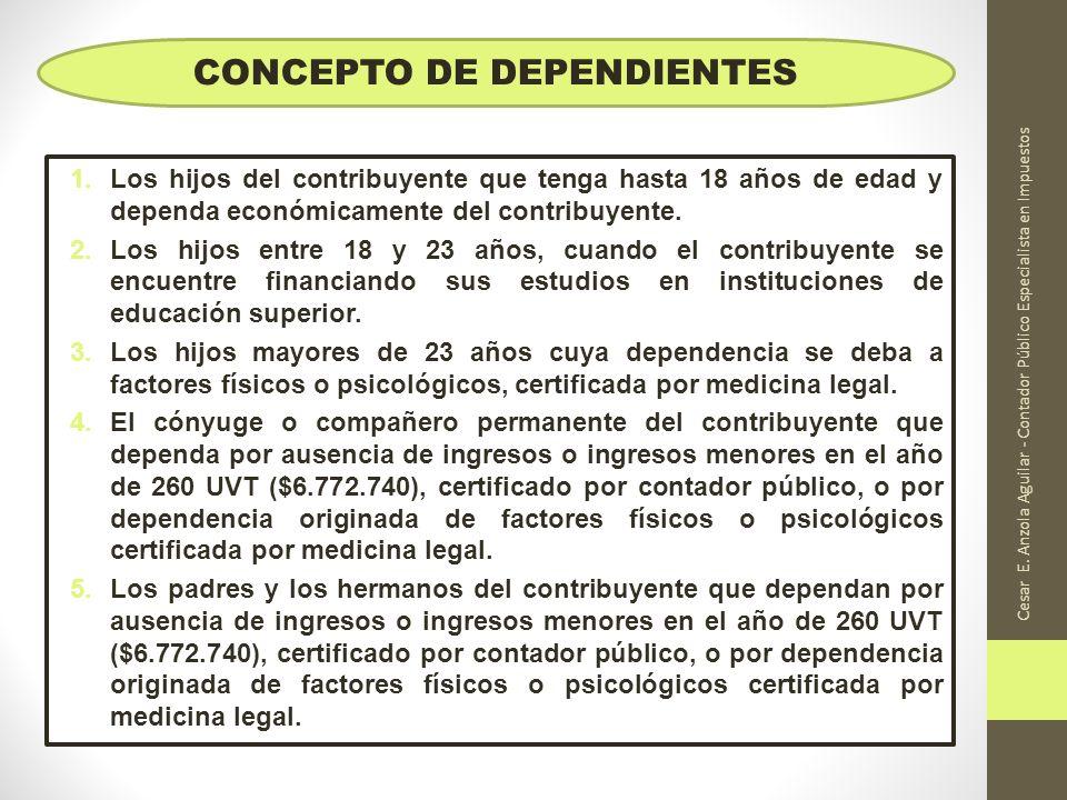 Cesar E. Anzola Aguilar - Contador Público Especialista en Impuestos 1.Los hijos del contribuyente que tenga hasta 18 años de edad y dependa económica