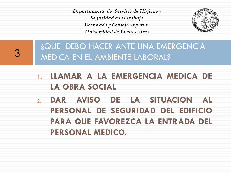 1. LLAMAR A LA EMERGENCIA MEDICA DE LA OBRA SOCIAL 2. DAR AVISO DE LA SITUACION AL PERSONAL DE SEGURIDAD DEL EDIFICIO PARA QUE FAVOREZCA LA ENTRADA DE
