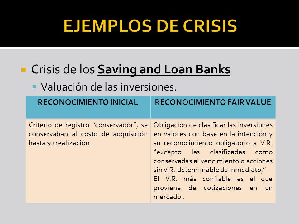 Crisis de los Saving and Loan Banks Valuación de las inversiones. RECONOCIMIENTO INICIALRECONOCIMIENTO FAIR VALUE Criterio de registro conservador, se