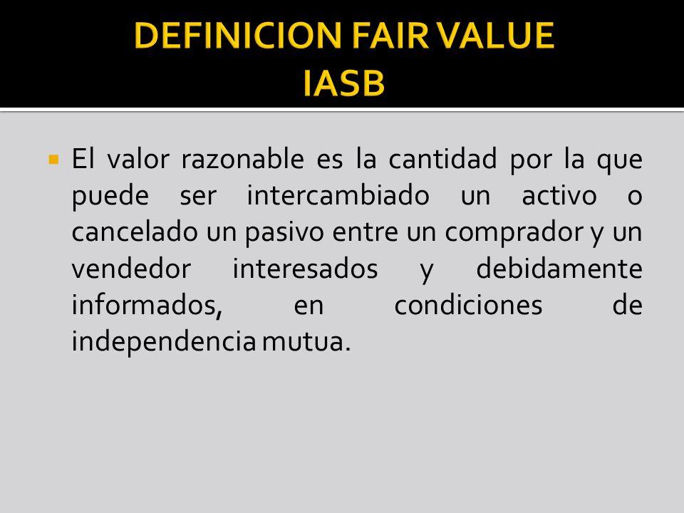 El valor razonable es la cantidad por la que puede ser intercambiado un activo o cancelado un pasivo entre un comprador y un vendedor interesados y de